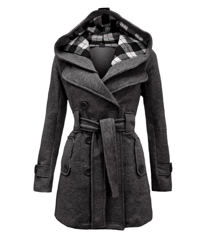 Autumn Winter Woollen Long Sleeve Double Breasted Long Coat Women Plaid Hooded Jacket Fashion Slim Overcoat E8753