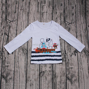 Hot sale offset print kids girls boys long sleeve tees newborn baby cute cartoon clothes wholesale cheap online tops clothing