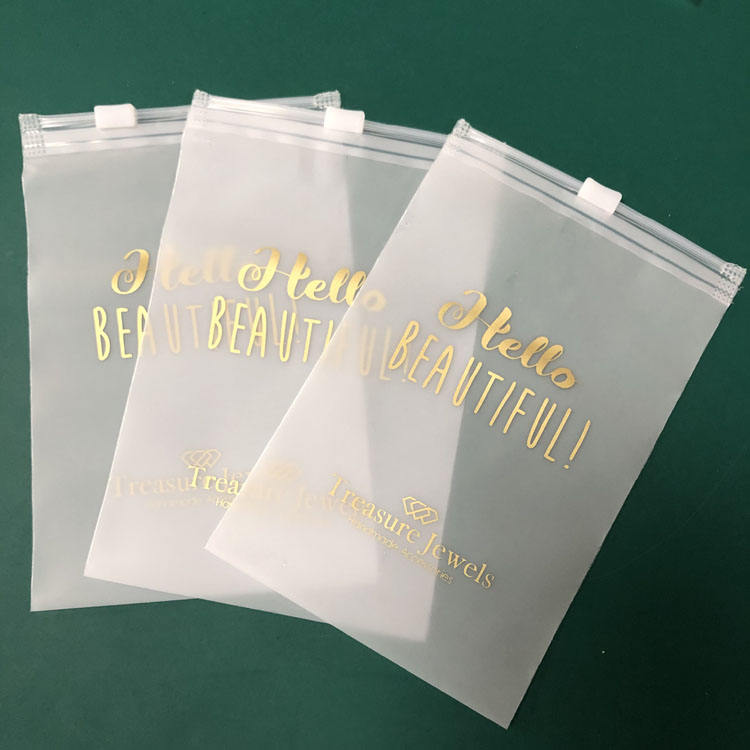 Small PVC Zip Bags Clear Poly Bags With Logo and Matte White Packaging Clothes Zip Lock Plastic Bags