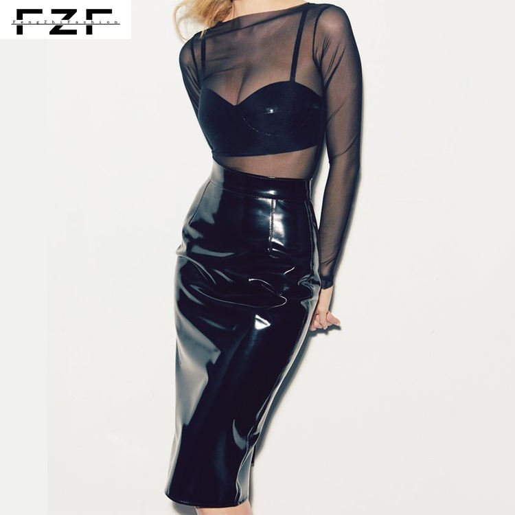Waterproof Pencil Black Pvc Skirt