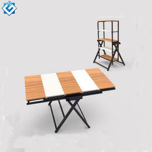 Dining table set convertible display rack landing storage shelf to dining table diy foldable mechanism