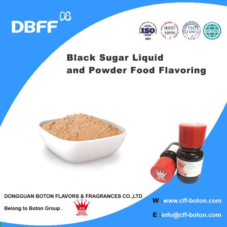 Schwarz Zucker Flüssigkeit und Pulverförmigen Lebensmittelaroma