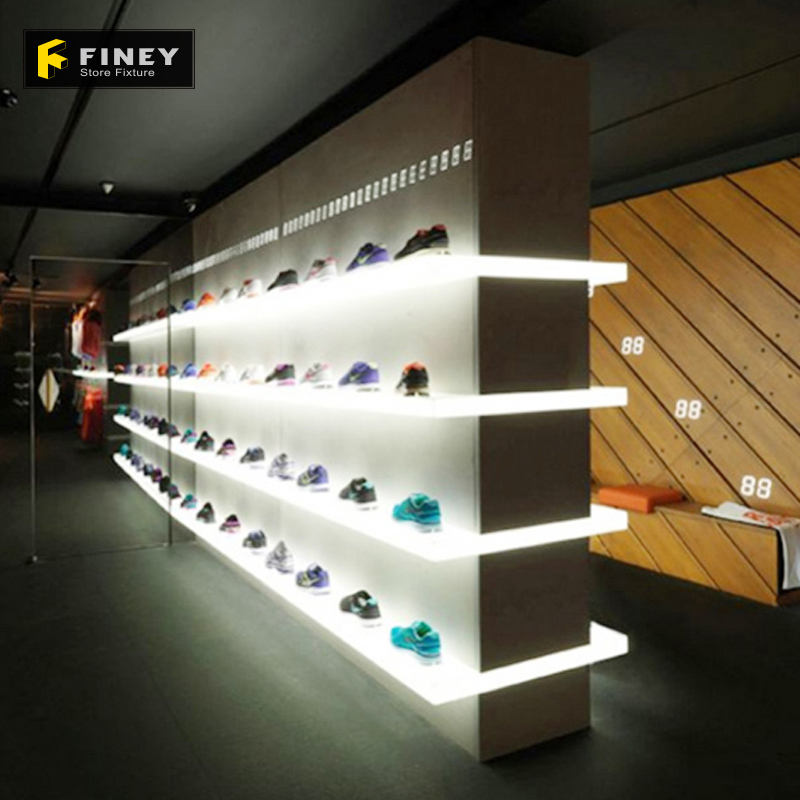 Custom Retail Floor Standing Wall MDF Led Lighting Shoe Rack Display Factory