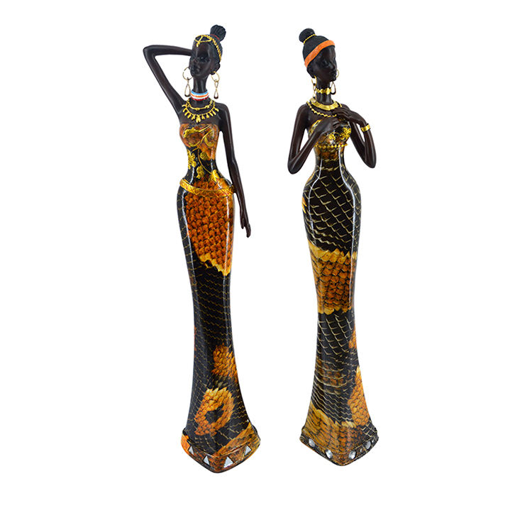 Resin Premium Quality Young African Woman Lady Figurine For Home Decor