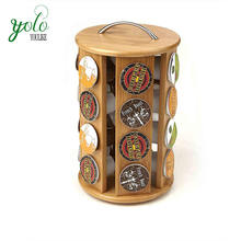 Wholesale Eco-friendly 100% Natural Bamboo 30 Capacity K-Cup Single Serve Coffee Pod Holder Carousel