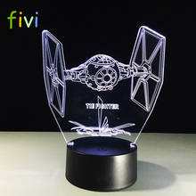 3D Creative Gifts Tie Fighter Lamp 3D Vision LED Desk Lamp USB 7 Colors Changing Baby Sleeping Night Light
