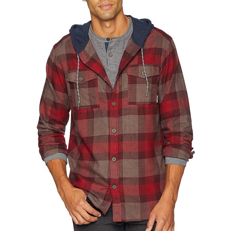<span class=keywords><strong>Domba</strong></span> <span class=keywords><strong>Bulu</strong></span> 100% Pre-shrunk Cotton-Dicelup Plaid Flanel Hoodie