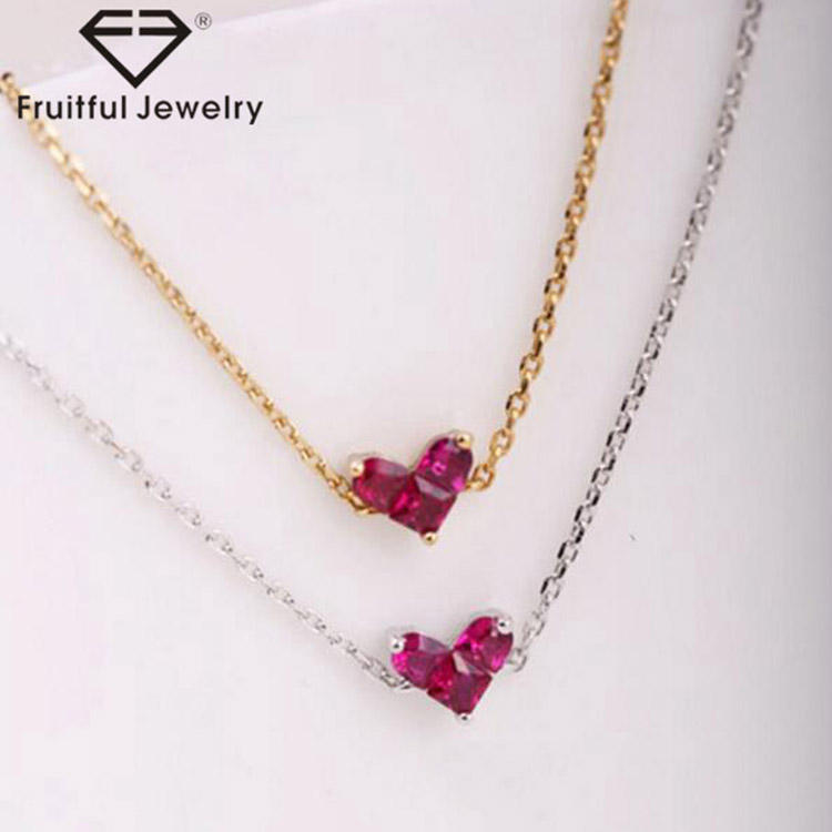 Fashion metal Sweet Ruby Mini zircon Peach blossom heart alloy gold silver bangle bracelet