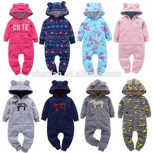 winter thick fleece long sleeve baby pajamas