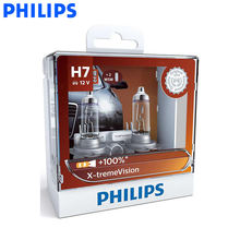 Philips H7 12V 55W PX26d X-treme Vision Car Headlight Bulbs Bright Halogen Lamps ECE Approve 100% More Vision 12972XV S2, Pair
