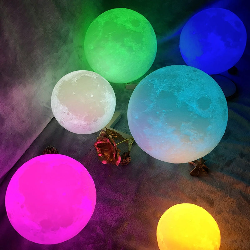 Lamp Light Night Light Amazon Hot Sale Touch Control USB Rechargeable 3d Moon Lamp Led Lune Print Moon Night Light With Stand