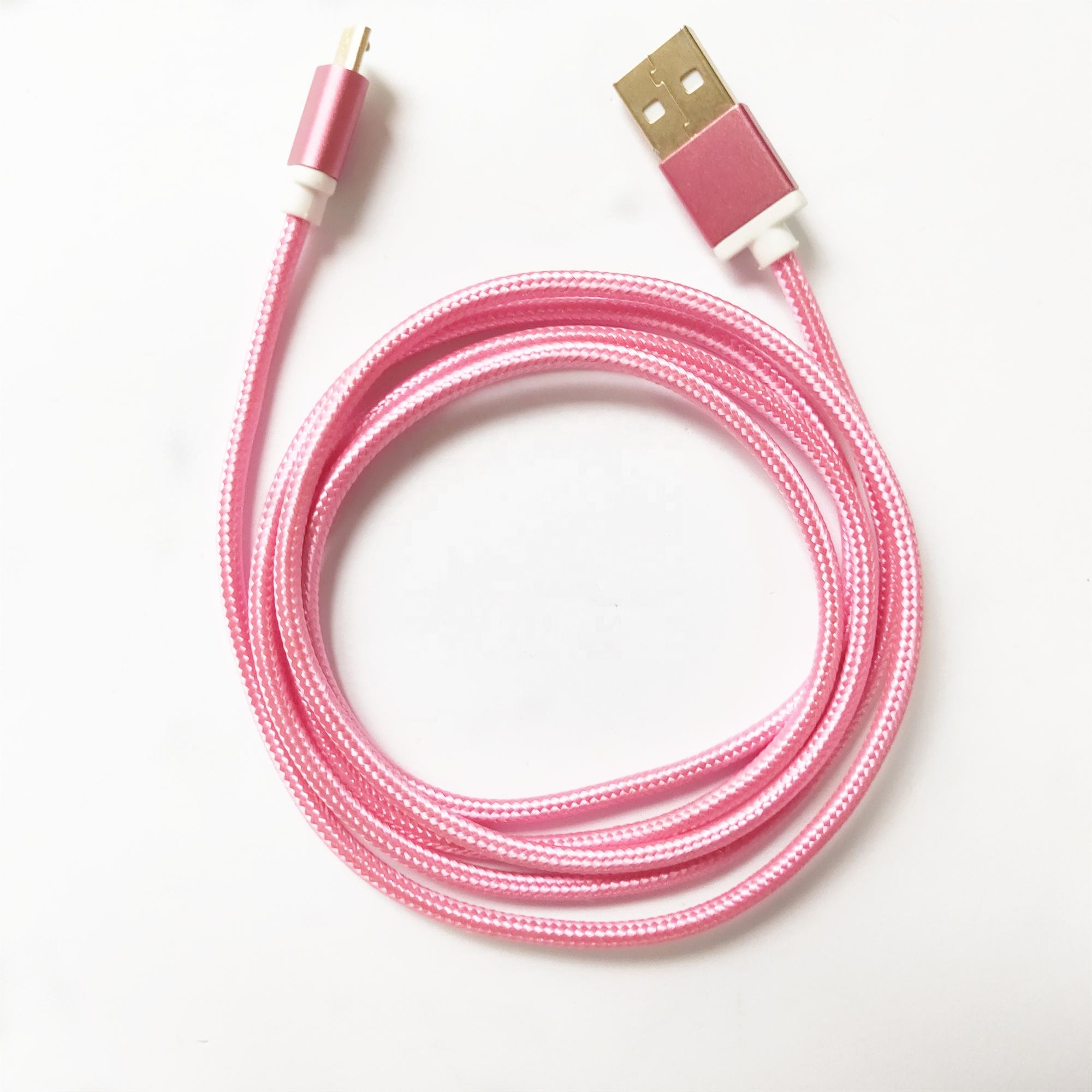 Pink USB 2.0 /3.0/ 3.1Micro 5P toType- C Cable High Quality Factory supply Fast Data Nylon Braided Charger for mobile phone
