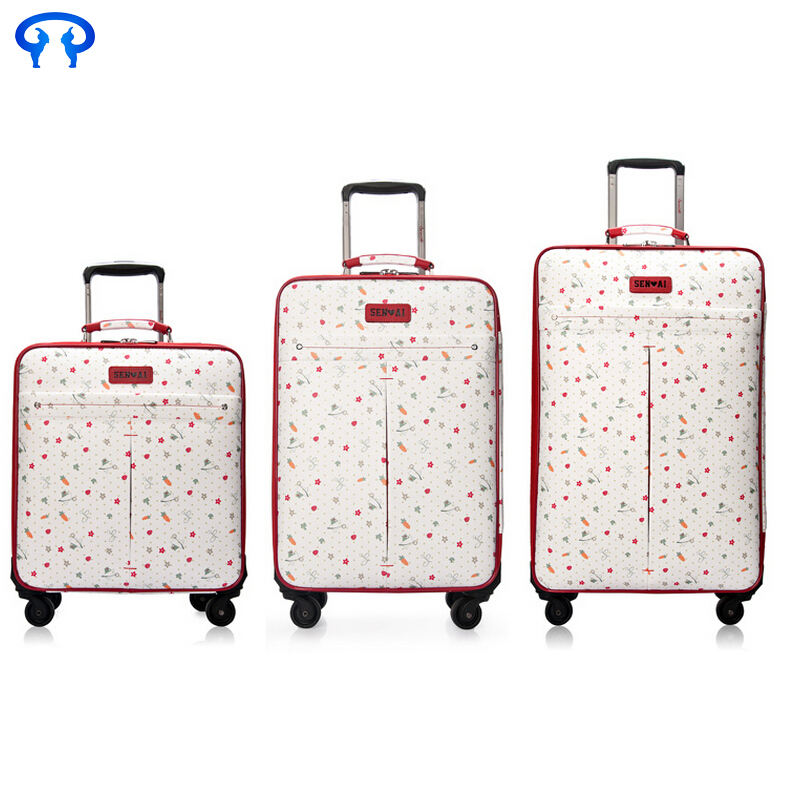 Retro travel trolley pu business baggage