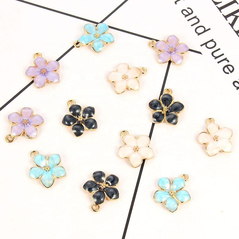 Gold Tone Colorful Enamel Alloy Mini Nice Flower Charms DIY Women Necklace Pendant Jewelry Accessory Findings