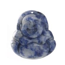 Natural Healing Sodalite Gemstone Laughing Buddha Pendant Charm For Necklace