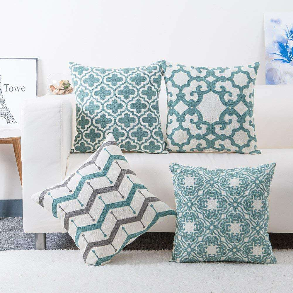 Embroidered Cotton Decorative Print Sofa Pillowcase Cover Throw Pillow Case