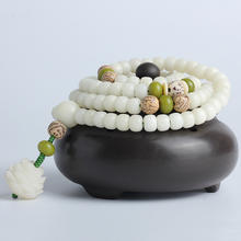 Original White Jade Bodhi Root Buddha Beads Bracelet 108 Prayer Beads Green Bodhi Root Lotus Bodhi Bracelet Women Jewelry