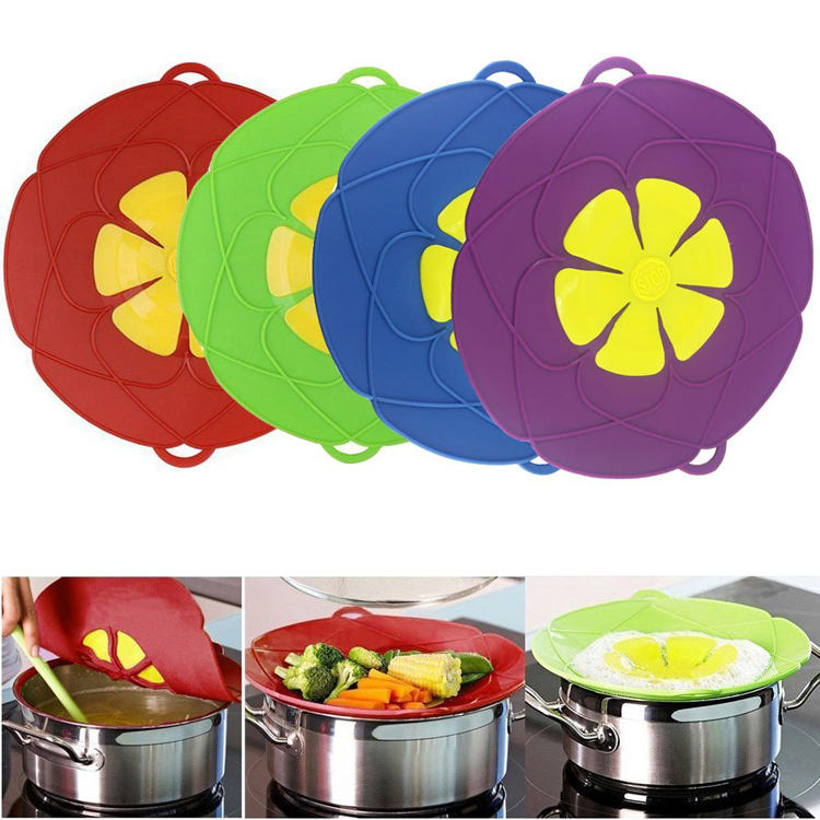 Kitchen Gadgets Wholesale 12 Inch Boil Over Spill Stopper Silicone Spill Stopper Lid Cover