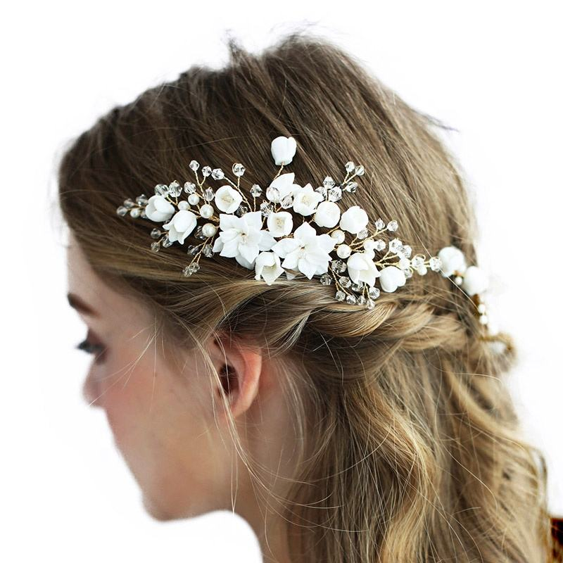 Women Prom Party Handmade Ceramic Flower Bridal Jewelry Set Crystal Headpiece Wedding Hair Accessories