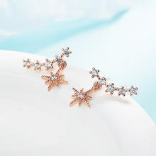 Flash diamond earrings female fashion temperament 925 silver earrings Korean version of the small earrings wish cross-border ear