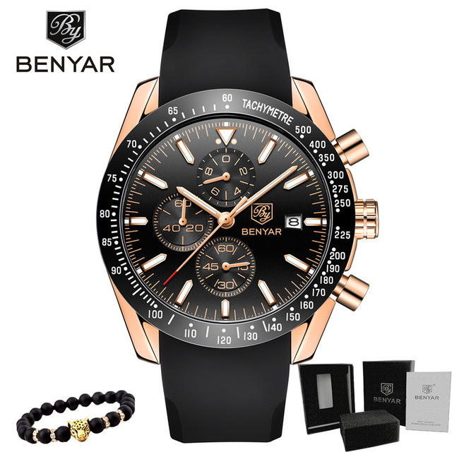 Relogio Masculino BENYAR Brand Luxury Men's Watch Chronograph Sport Male Clock Military Rubber Band Fashion Quartz Wristwatch