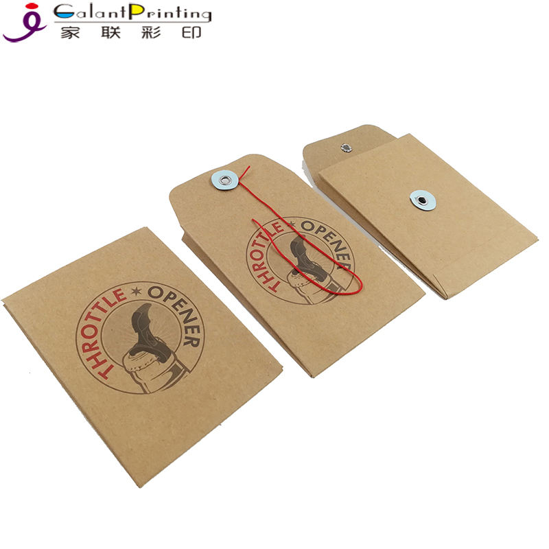 Factory wholesale Small brown kraft envelope with button and string closure