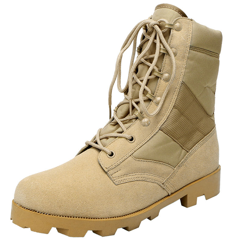 Xinxing army combat shoes Khaki desert Rubber sole army tactical military men's boots with zipper