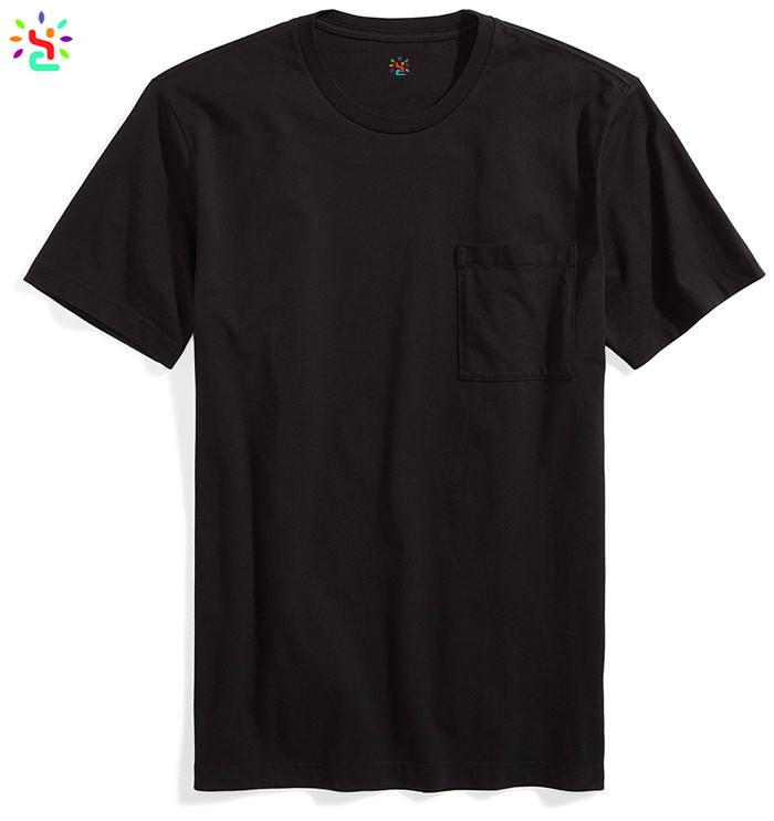 Solid color t shirts 1 euro t-shirt with pocket black tees tag free custom print logo cotton tee wholesale
