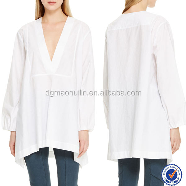 Long sleeve 100% cotton V-neck india wholesale cotton tunic tunics for women long tunics for women