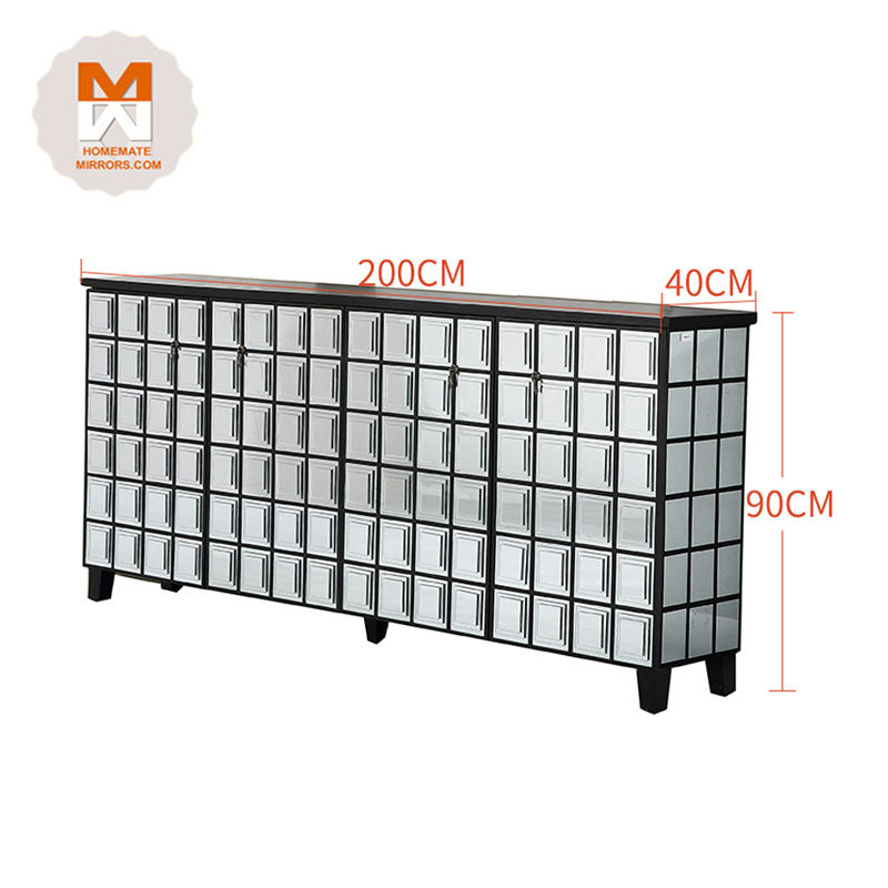 Top Quality Cheap Price Black Framed Living Room Furniture Mirrored Sideboard