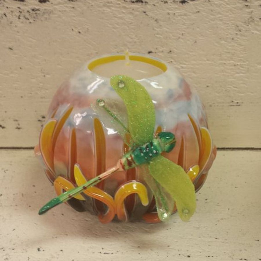 Green Dragonfly Gift ALL Hand Carved wax candles Wax Candles Outside and Inside