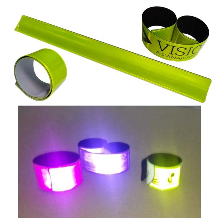 reflective plastic PVC slap snap wrap bands with a steel plate embedded reflector reflex snap wrap wrist magic armband