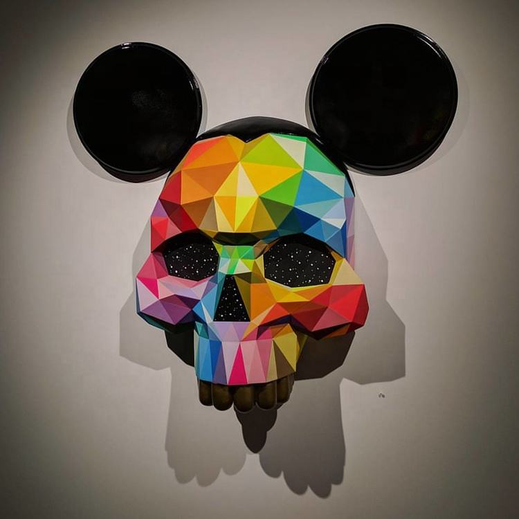Customized Wall decoration fiberglass life size Mickey skeleton sculpture