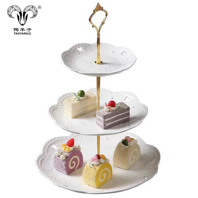 Factory direct custom logo 3 tires ceramic wedding service dessert cake stand set