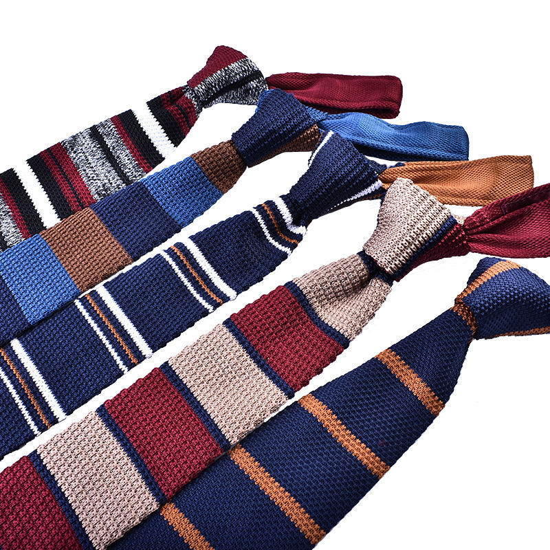 hot selling men's knit skinny ties with big arrow blade