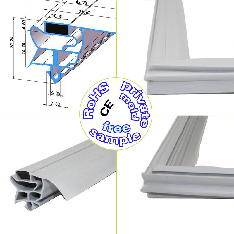 china supplier plastic extrusion profile magnetic pvc/u door seal for refrigerator door