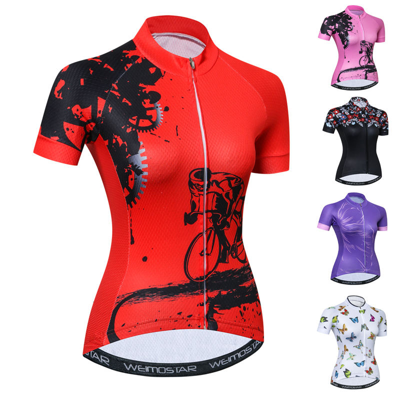 Custom Maillot Ropa Ciclismo Bike Clothing Ladies Shirts Top Outdoor Sports Women Cycling Jersey Cycle Clothes Black Red Pink