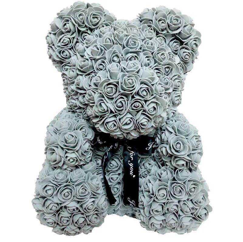 Wholesales factory high quality Valentine's Day foam flower rose teddy bear 25cm 30cm 40cm 60cm