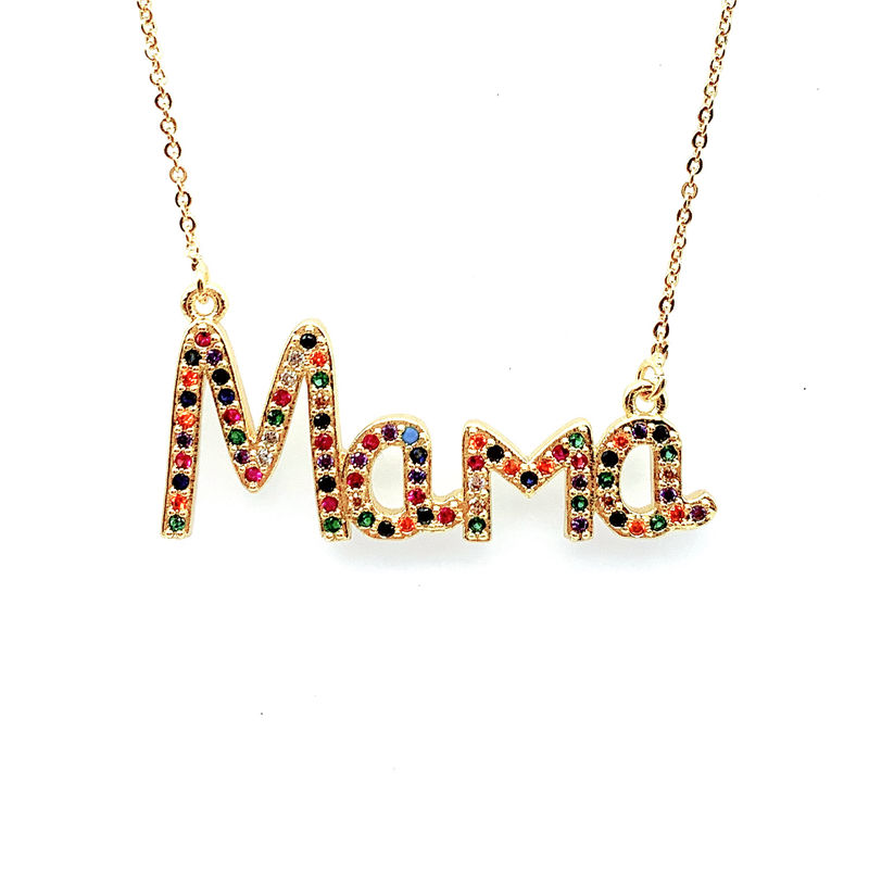 Fashion Mother Day Gift Rainbow Stone items New Designs Jewelry Mom Charm Pendant Necklace