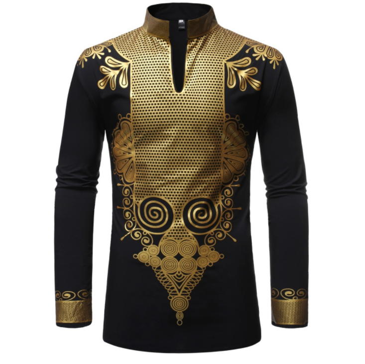 c11371a African clothes men stand-up collar dashiki long sleeve shirt