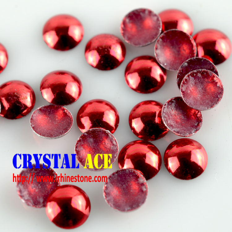 Red Hotfix Dome heat transfer studs half round pearl