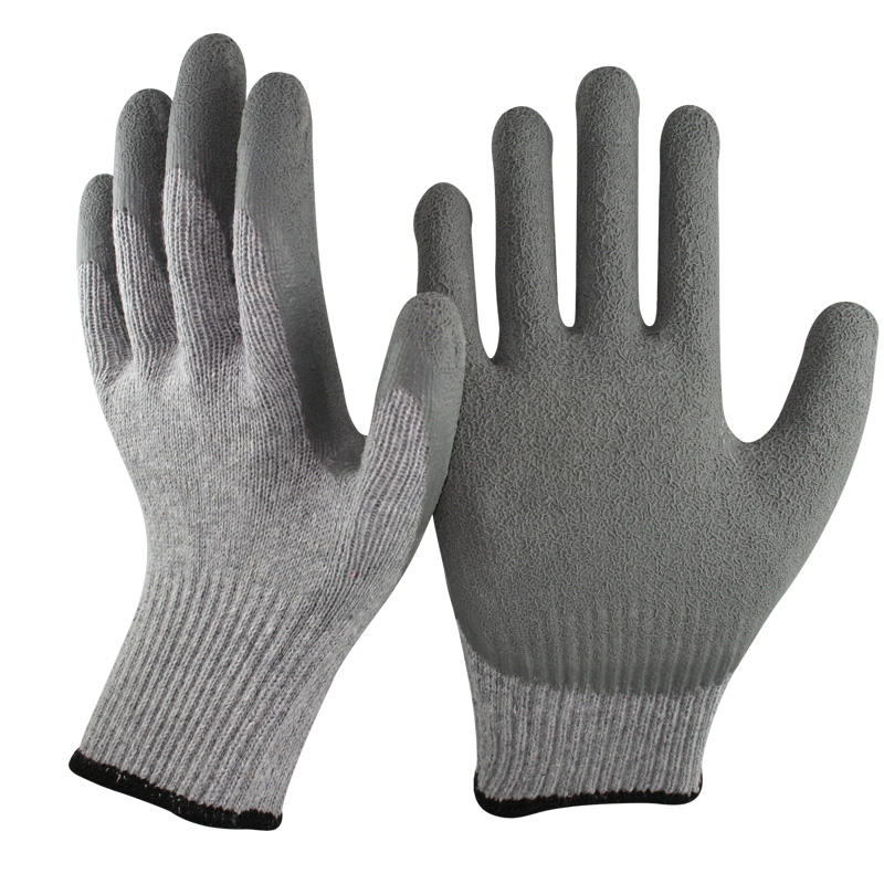NMSAFETY grey latex rubber safety working gloves with CE certification