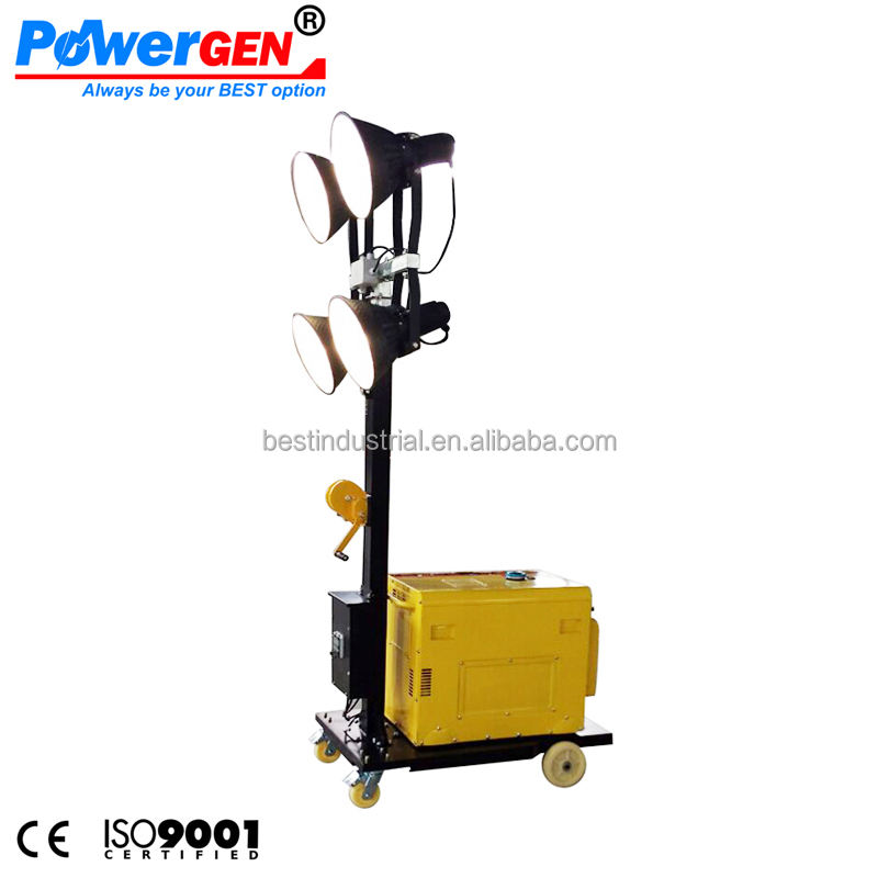 Cheapest Price !!! POWERGEN Mast 4.8M with Metal Halide Lamp 4x400W Diesel Light Tower 5KW Mobile Generator