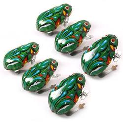 Kids Classic Educational Tin Wind Up Clockwork Toys Jumping Frog Vintage Toy For Children Boys