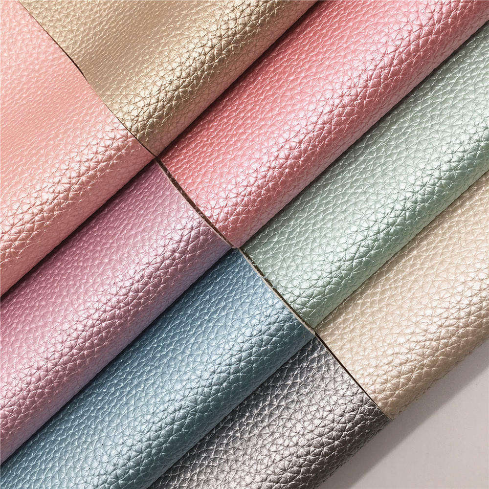 Glossy Lustrous Pearlized Leather Fabric Lychee Embossed Shiny Faux Synthetic Leather For Shoes Bag Bow Crafting