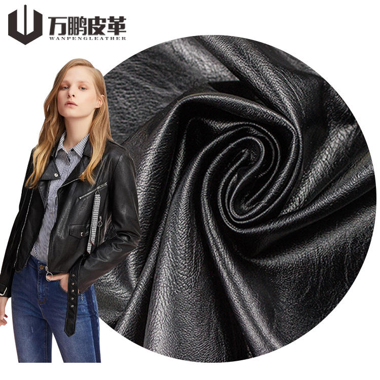 0.9Mm Customized Color Sheep Skin Pattern Recycled Embossing PU Leather For Clothing Jacket Leather Vegan Leather Clothing