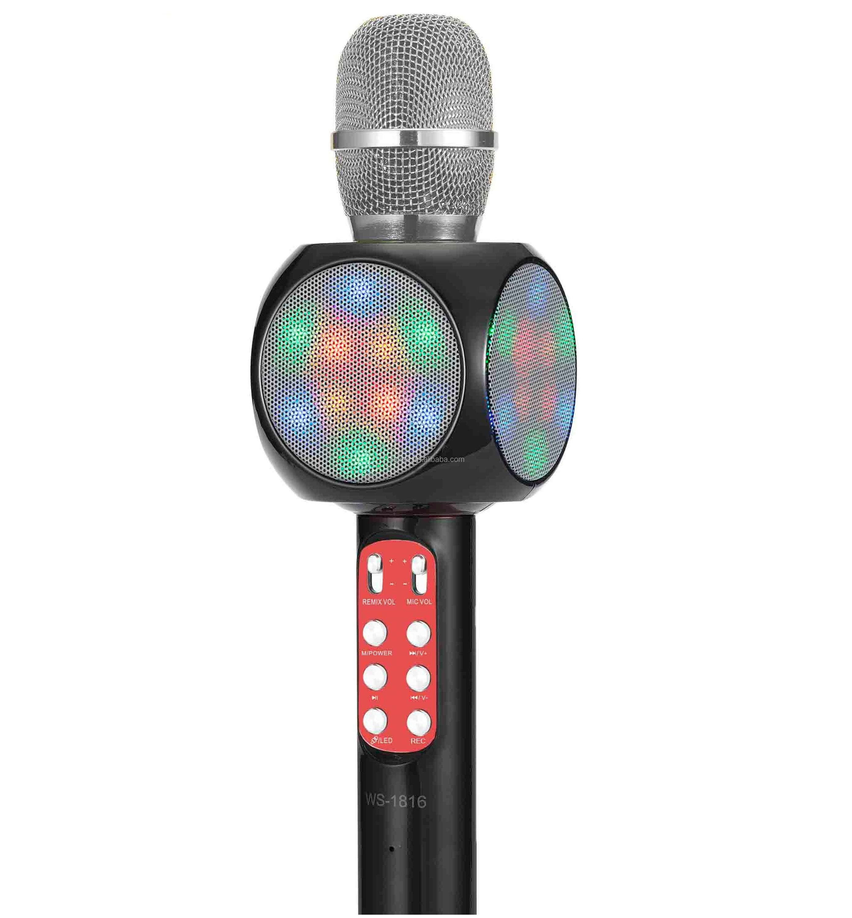 WSTER wireless karaoke microphone karaoke mic/ professional portable speaker micro digit product WITH LED LIGHT