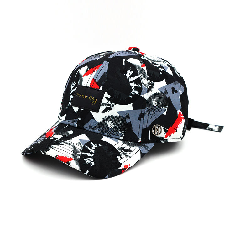 Metal Logo Strap Back Mens Sublimated Custom Golf Hats