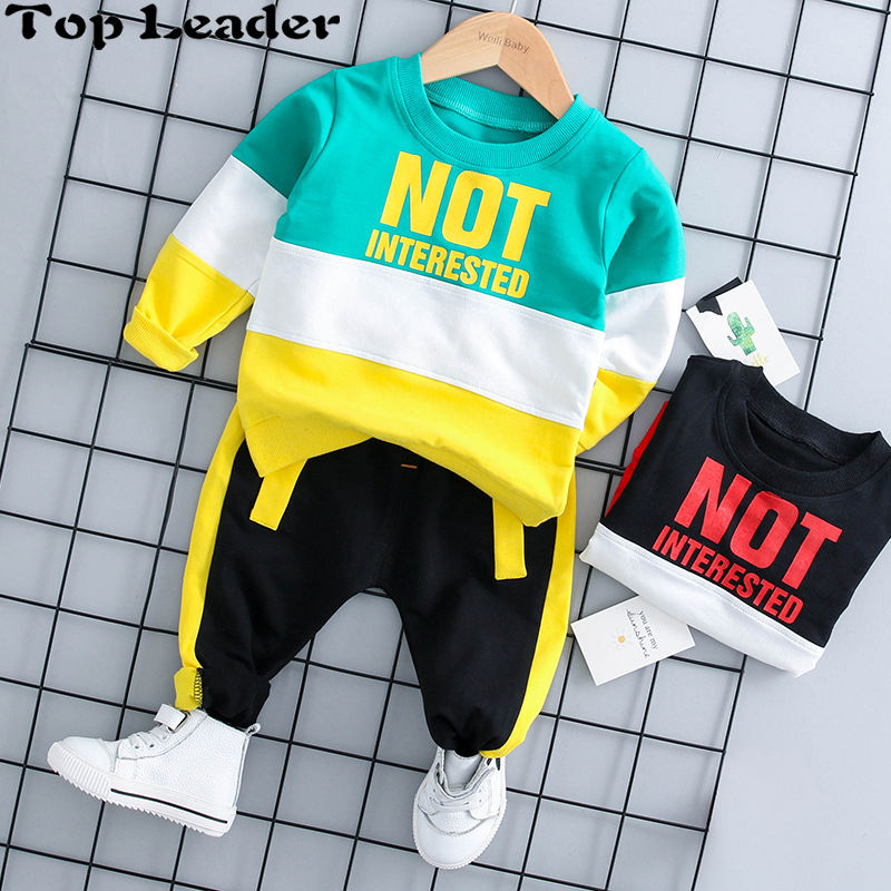 Top Leader 2018 Autumn Baby Girl Boy Clothing Sets Infant Clothes Suits Casual Sport T Shirt Pants Kid Child Clothes Suits