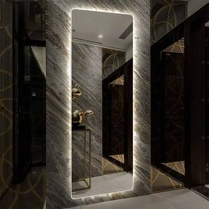 Customized size frameless led floor mirror dressing mirror with lights / touch switch